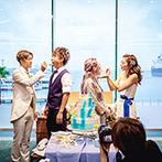 アマンダンセイル(AMANDAN SAIL):海の景色が楽しめるパーティ会場を大人のマリンスタイルに。ビーチをモチーフにしたケーキの出来栄えに感動