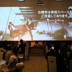 室町ステージ Muromachi Stage THE SCREEN:映画館のようなスクリーンにゲストの視線が集中!会場にあふれるふたりらしさに、ゲストも思わず笑顔に