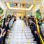 ANELLI 長岡(アネーリ 長岡):大切な家族やゲストに感謝を伝え、絆を深める教会式。緑に囲まれた、全天候型の大階段ではバズーカ演出も