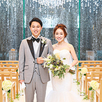 MATSUYAMA MONOLITH(松山モノリス):大きな滝が流れるチャペルや披露宴会場から見える庭園に一目惚れ。純白のドレスが映えることも決め手に
