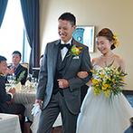 スターゲイト(ANAクラウンプラザホテルグランコート名古屋内):ホテル30階のレストランをフロアごと貸切。幸せの黄色い花にゲストへの感謝の想いを託す【Mimosa Wedding】