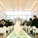 ラグナヴェール 金沢(LAGUNAVEIL KANAZAWA):花が彩るガラスのバージンロードや、大階段とテラス付のパーティ空間。ニューオープンのステージに魅了