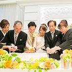 ラグナヴェール 金沢(LAGUNAVEIL KANAZAWA):両家両親とふたりによるケーキ入刀のサプライズはプランナーの提案!全スタッフで理想の一日を叶えてくれた