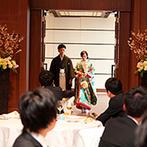 ラグナヴェール 金沢(LAGUNAVEIL KANAZAWA):会場コーディネートやケーキ、新婦の打掛にも桜が咲き誇るスプリングパーティ。予想外の和装に会場は大歓声
