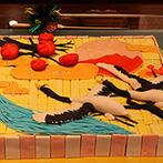 ラグナヴェール 金沢(LAGUNAVEIL KANAZAWA):金沢の魅力を盛り込んだ、和にこだわったおもてなし。入刀用の上用生菓子は新郎がデザインしたオリジナル