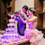 ラグナヴェール 金沢(LAGUNAVEIL KANAZAWA):キラキラときらめくシャンパンタワーがロマンチック。手作りフォトプロップスを使ったフォトラウンドも