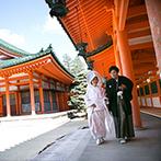 平安神宮会館(国指定名勝神苑):長い歴史を重ねてきた平安神宮で、格式高い神社挙式。巫女の舞や雅楽の演奏など本格的な儀式が心に刻まれた