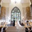 300年前から花嫁の幸せを見守ってきた本物のステンドグラスと水のせせらぎが聞こえる幻想的なチャペルで叶える花嫁姿♪旭川市内で唯一のシアター型チャペルの魅力をたっぷり体験☆もちろんドレス試着も無料でOK