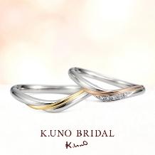 K.UNO BRIDAL(ケイウノ ブライダル)_【ケイウノ】ゴールドのラインは空から差し込む光。ふたりの未来を永遠に照らして