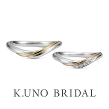 K.UNO BRIDAL(ケイウノ ブライダル):本誌掲載【ケイウノ】ゴールドのラインはふたりの未来を永遠に照らす光