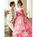 愛ロイヤルウェディング セントラルパークタワー:【愛ロイヤルウェディング】人気カラ-ドレス ピンク花