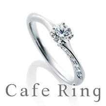 Ishigami Bridal/イシガミブライダル_繊細なラインにメレダイヤが流れるように輝くカフェリングのノエルブラン
