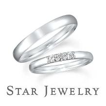 スタージュエリー_《スタージュエリー》3石のダイヤモンドが輝くシンプルな甲丸マリッジリング