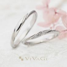 JEWEL SEVEN BRIDAL_S字ラインに沿うミルグレインとダイヤモンドが可憐に指を美しく魅せる