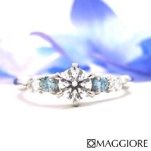 MAGGIORE アートダイヤモンド(マジョーレ)_大粒のブルーダイヤとホワイトダイヤで爽やかに!★★マジョーレオリジナル★★