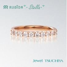 Jewel TSUCHIYA(ジュエル ツチヤ):ストレートリングにダイヤが並べられたハーフエタニティ婚約指輪「ルビーダステラ」