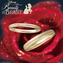 JKPlanet(JKプラネット)_ディズニー 美女と野獣 ゴールド結婚指輪/マリッジリング【JKPlanet】