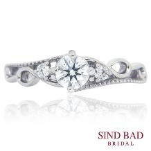 SIND BAD_婚約指輪 繊細なミルうち ヨーロッパのお城のようなクラシカルな雰囲気 の婚約指輪