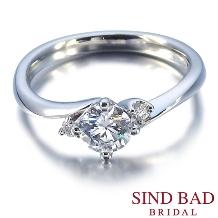 SIND BAD_婚約指輪【深海 みお】二つのメレダイヤがやさしく寄り添う