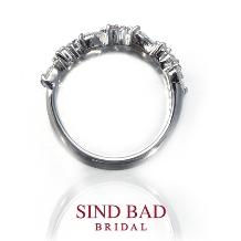 SIND BAD BRIDAL:【婚約指輪・記念日の贈物に】ハートダイヤとピンクダイヤのハーフエタニティリング