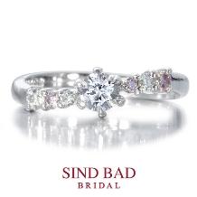 SIND BAD BRIDAL_婚約指輪【Cancion(カンシオン)】美しい曲【ピンクダイヤモンド】