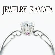 JEWELRY KAMATA(ジュエリーかまた)_ツタ模様とピンクダイヤがアクセントの婚約指輪