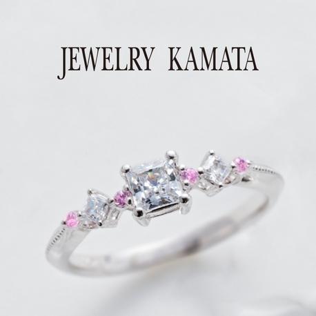 JEWELRY KAMATA(ジュエリーかまた):スウィートなテイストのピンクメレがきらめく婚約指輪