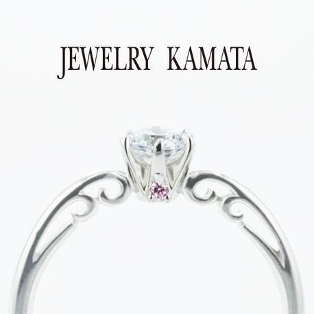 JEWELRY KAMATA(ジュエリーかまた):ツタ模様とピンクダイヤがアクセントの婚約指輪