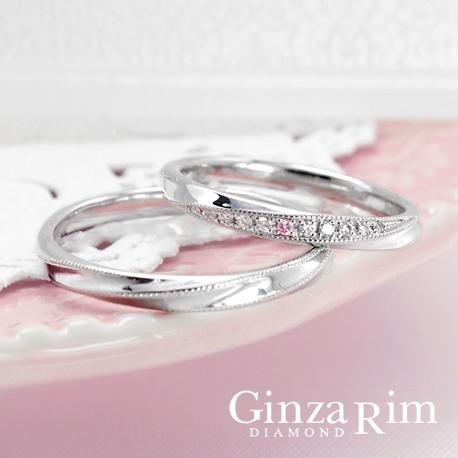 Ginza Rim/銀座リム:【銀座リム/ダイアン】繊細なミル打ち&ピンクダイヤが煌めく上品リング