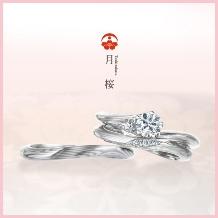 杢目金屋(もくめがねや):【杢目金屋】優美な流れが指を美しく見せてくれるプラチナ入りエンゲージリング