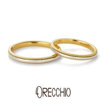 ORECCHIO(オレッキオ):テヌート~ 細身のアームに異素材でミルグレインを施したシンプルな結婚指輪