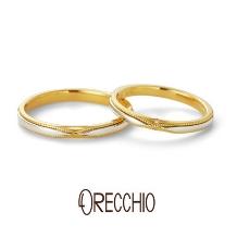ORECCHIO(オレッキオ):セグイド~ クロスに走るミルグレインが指元を華やかに演出する結婚指輪