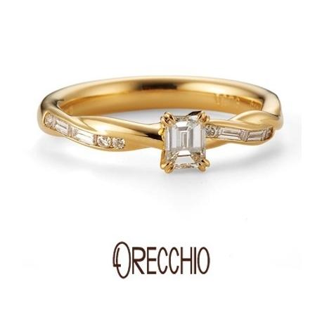ORECCHIO(オレッキオ):クローブ~二本の糸が絡み合ったような曲線のアームがエレガントな婚約指輪