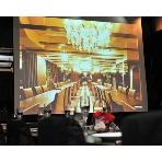 兆 堂島:どこからでも見える大迫力の2面スクリーン&プロジェクターあります!