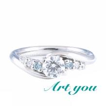 ブライダルリング工房 アートゆう:★ふたりのための婚約指輪★ {爪留めなめらか加工}【幸縁~KOUEN~】