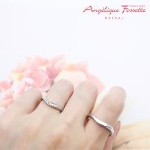 アンジェリック フォセッテ ブライダル:指をすっきり見せるデザインをお探しなら!ダイヤ×ミル打ちでエレガントに♪