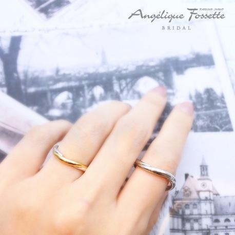 アンジェリック フォセッテ ブライダル:お洒落に結婚指輪を使い方に人気のコンビデザイン!ゴールドの色も選べるのも魅力☆