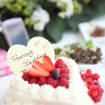 青山 Green grass Cafe:ハート型のケーキは新郎新婦様の為のケーキ♪楽しんで召し上がってください。