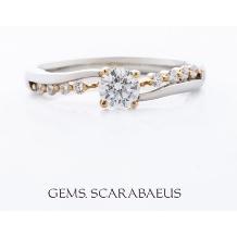 ジュエリースカラベ(GEMS.SCARABAEUS)_【フルール】プラチナと18金のバランスが美しい