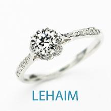 LEHAIM(レハイム)_【レハイム】メインダイヤの台座がお花の形で面にも横にもダイヤがあしらわれて