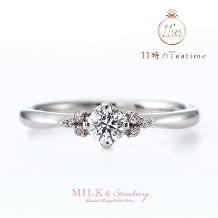 11時のTea time(11時のティータイム)_可愛いピンクダイヤが輝く王道婚約指輪【MILK&Strawberry/エステラ】