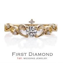ファーストダイヤモンド_かぼちゃの馬車を連想させる愛らしい指輪「Lady Tiara」