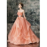 M style wedding:大人っぽい上質なデザインが魅力!オーガンジーとチュールのオレンジのドレス