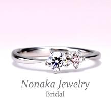 NONAKA JEWELRY(ノナカジュエリー)_【可憐 Karen】【ピンクダイアを使った可愛いお花のデザイン】の婚約指輪 Pt