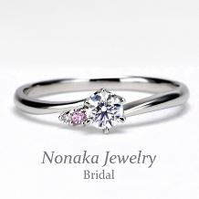 NONAKA JEWELRY(ノナカジュエリー)_【重ね着けも綺麗な緩やかなカーブのピンクダイア入り】婚約指輪 ハードプラチナ