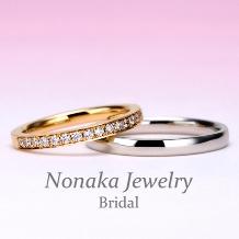 NONAKA JEWELRY(ノナカジュエリー)_【永遠 Towa 】ピンクゴールドのハーフエタニティRと手作りPtシンプルリング