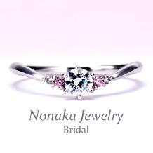 NONAKA JEWELRY(ノナカジュエリー)_細いV字【脇に天然ピンクダイアとメレダイア】が入った可愛い優しい雰囲気の指輪