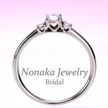 NONAKA JEWELRY(ノナカジュエリー)_【ハートの透かし模様がかわいい】プラチナ ダイアモンド婚約指輪