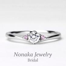 NONAKA JEWELRY(ノナカジュエリー)_天然ピンクダイアモンドを2個使った緩やかなV字デザインの高級な婚約指輪 プラチナ