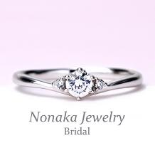 NONAKA JEWELRY(ノナカジュエリー)_緩やかなV字デザインの婚約指輪 ハードプラチナ